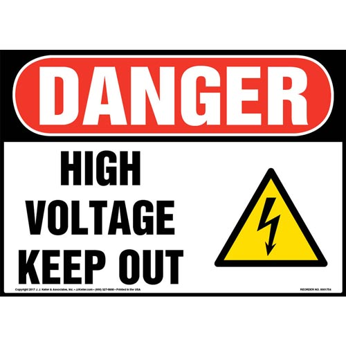 Danger: High Voltage Keep Out Sign with Icon - OSHA (013290)