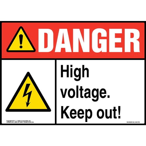 Danger: High Voltage. Keep Out! Sign with Icon - ANSI (013291)