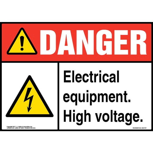 Danger: High Voltage Sign with Icon - ANSI (013293)