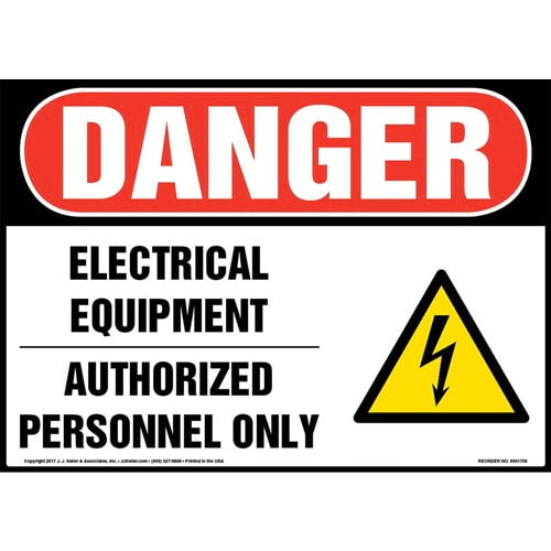 Danger: Electrical Equipment Authorized Personnel Only Sign with Icon - OSHA (013294)