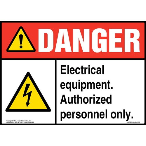 Danger: Electrical Equipment. Authorized Personnel Only Sign with Icon - ANSI (013295)