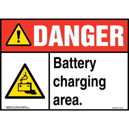 Danger: Battery Charging Area Sign with Icon - ANSI (013297)