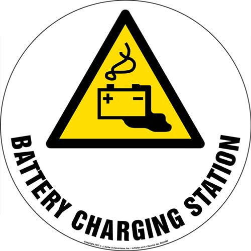 Battery Charging Station Floor Sign with Icon (013298)