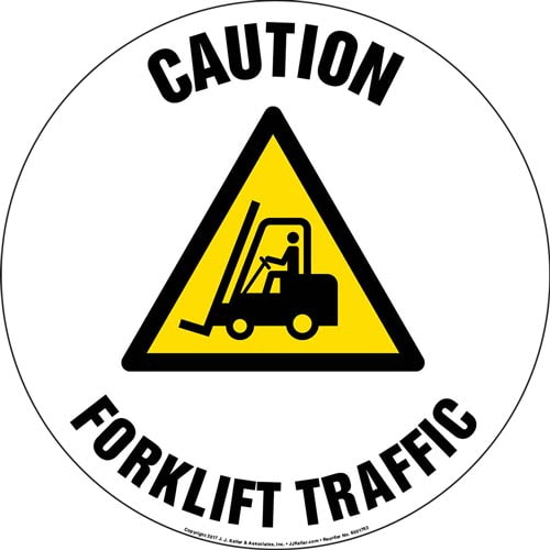 Caution: Forklift Traffic Floor Sign with Icon (013299)