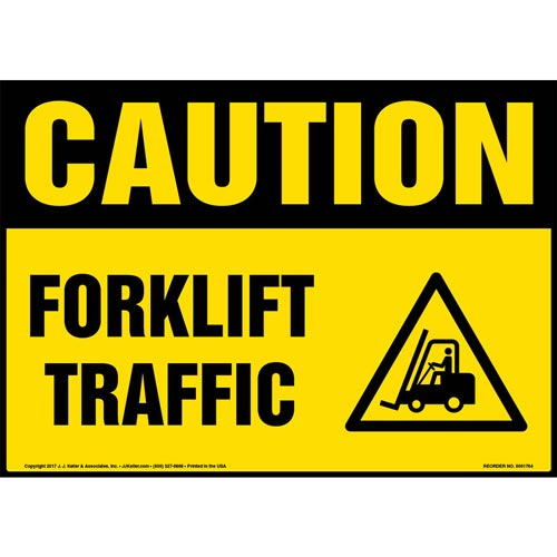 Caution: Forklift Traffic Sign with Icon - OSHA (013300)