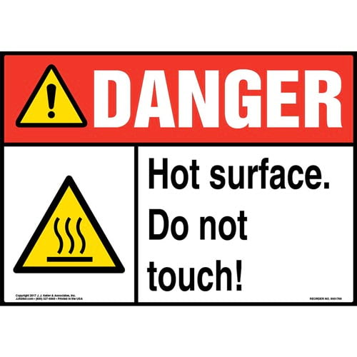 Danger: Hot Surface. Do Not Touch! Sign with Icon - ANSI (013305)