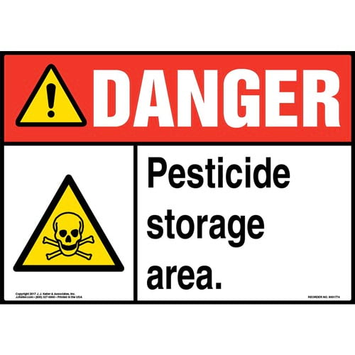 Danger: Pesticide Storage Area Sign with Icon - ANSI (013310)