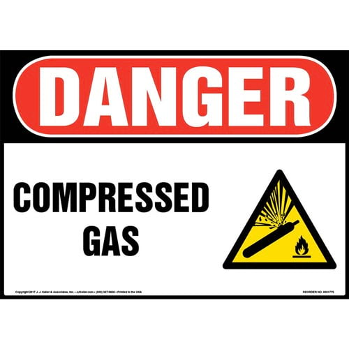Danger: Compressed Gas Sign with Icon - OSHA (013311)