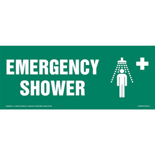 Emergency Shower Sign with Icon (013314)