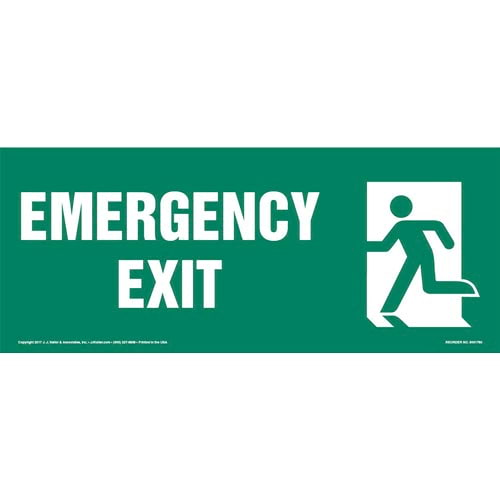 Emergency Exit Left Sign with Icon (013316)