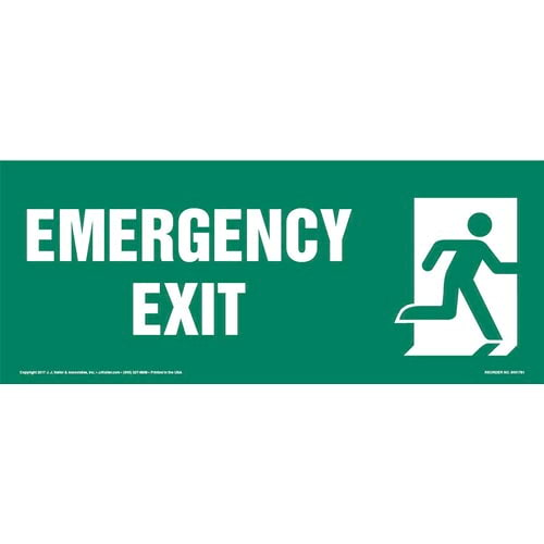 Emergency Exit Right Sign with Icon (013317)