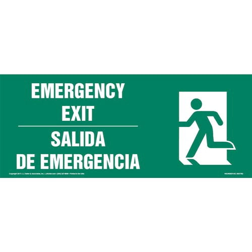 Emergency Exit Left - Bilingual Sign with Icon (013318)