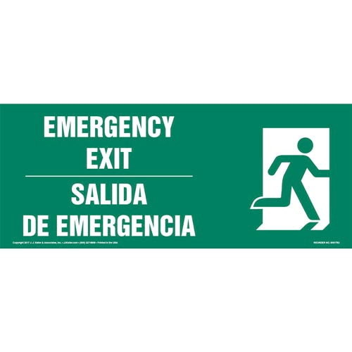 Emergency Exit Right - Bilingual Sign with Icon (013319)