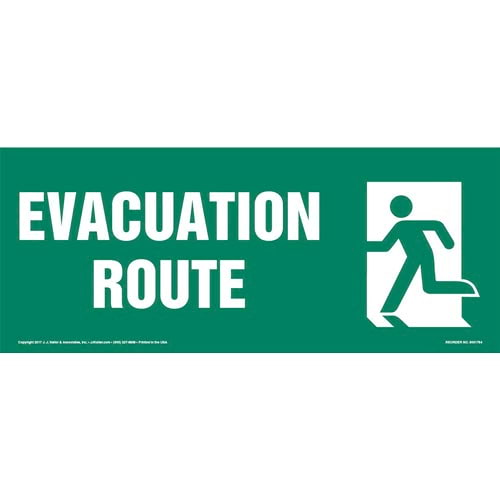 Evacuation Route Left Sign with Icon (013320)