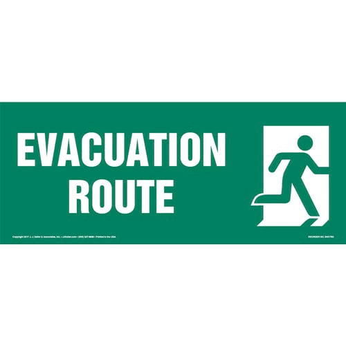 Evacuation Route Right Sign with Icon (013321)
