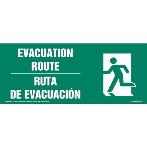 Evacuation Route Left - Bilingual Sign with Icon (013322)