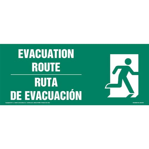 Evacuation Route Right - Bilingual Sign with Icon (013323)