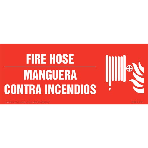 Fire Hose - Bilingual Sign with Icon (013327)