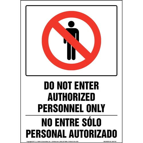 Do Not Enter Authorized Personnel Only - Bilingual Sign with Icon (013328)