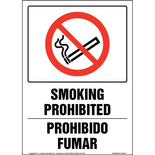 Smoking Prohibited - Bilingual Sign with Icon (013329)