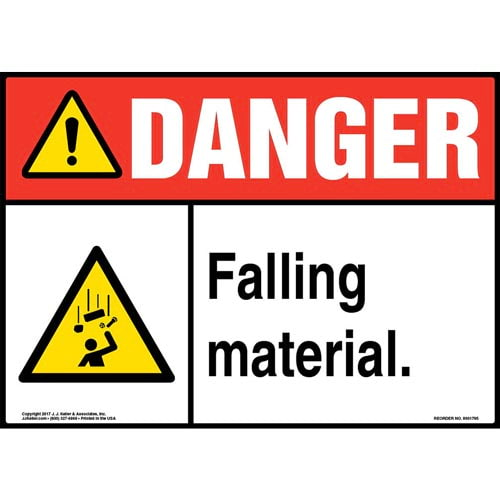 Danger: Falling Material Sign with Icon - ANSI (013331)