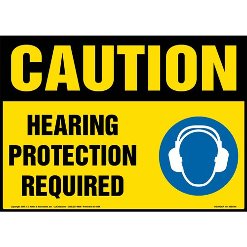 Caution: Hearing Protection Required Sign with Icon - OSHA (013332)