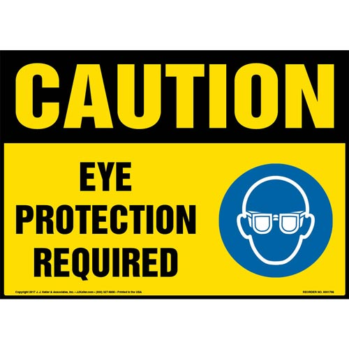 Caution: Eye Protection Required Sign with Icon - OSHA (013334)
