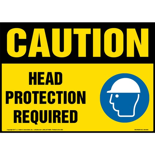 Caution: Head Protection Required Sign with Icon - OSHA (013336)
