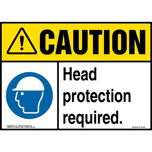 Caution: Head Protection Required Sign with Icon - ANSI (013337)