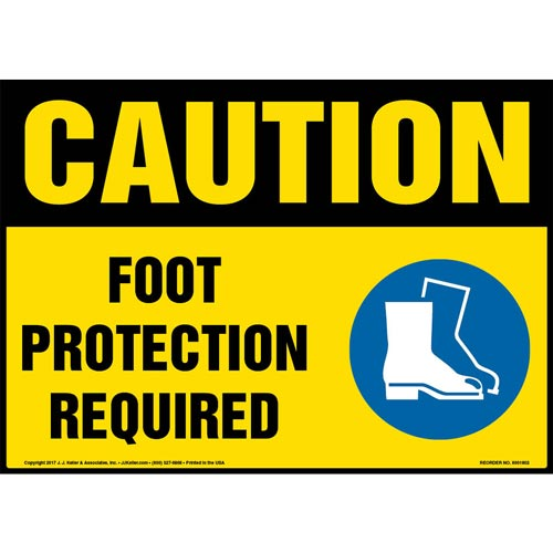 Caution: Foot Protection Required Sign with Icon - OSHA (013338)