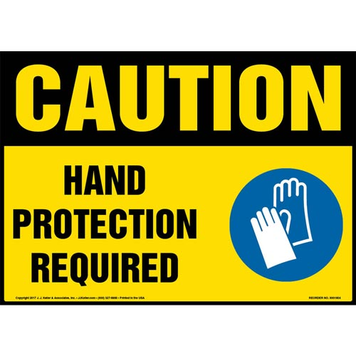Caution: Hand Protection Required Sign with Icon - OSHA (013340)