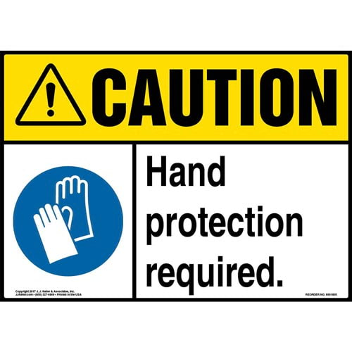 Caution: Hand Protection Required Sign with Icon - ANSI (013341)