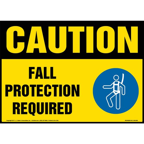 Caution: Fall Protection Required Sign with Icon - OSHA (013342)