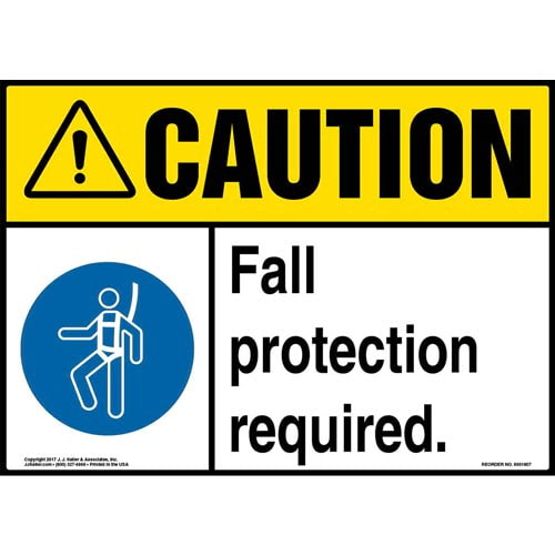 Caution: Fall Protection Required Sign with Icon - ANSI (013343)