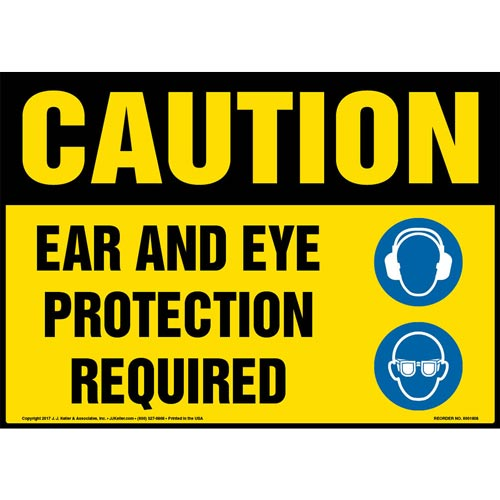 Caution: Ear And Eye Protection Required Sign with Icon - OSHA (013344)