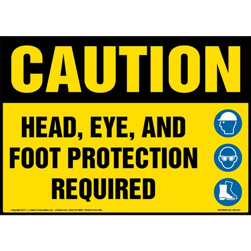 Caution: Head, Eye, And Foot Protection Required Sign with Icon - OSHA (013346)