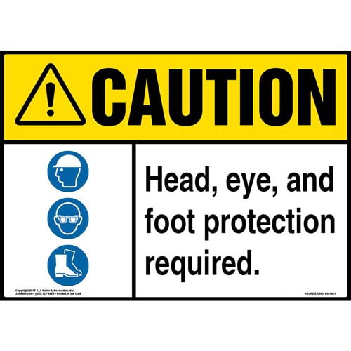 Caution: Head, Eye, And Foot Protection Required Sign with Icon - ANSI (013347)