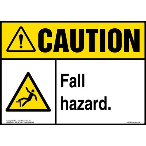 Caution: Fall Hazard Sign with Icon - ANSI (013349)
