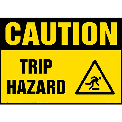 Caution: Trip Hazard Sign with Icon - OSHA (013350)