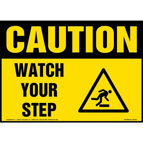 Caution: Watch Your Step Sign with Icon - OSHA (013352)