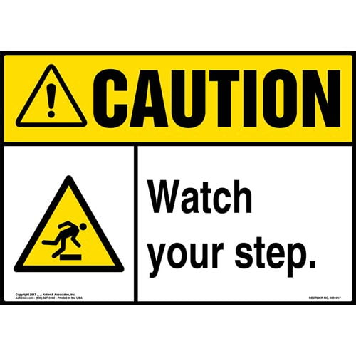 Caution: Watch Your Step Sign with Icon - ANSI (013353)