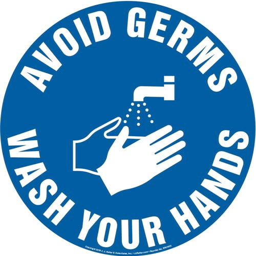 Avoid Germs, Wash Hands Sign with Icon - Round (013622)