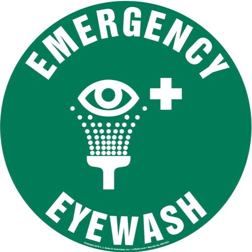 Emergency Eyewash Sign with Icon - Round (013623)