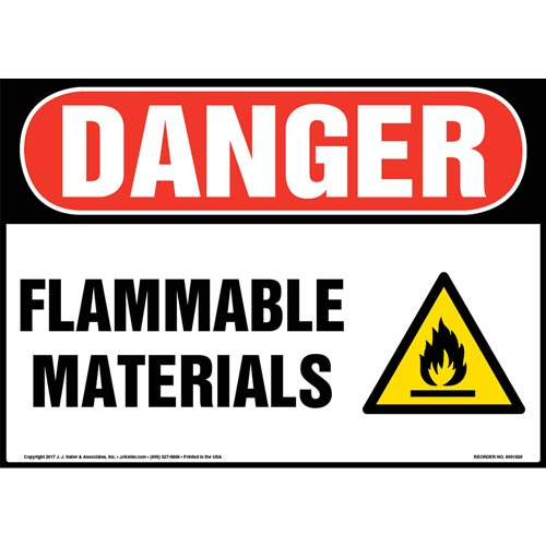 Danger: Flammable Materials Sign with Icon - OSHA (013366)