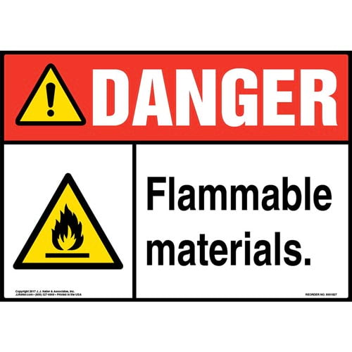 Danger: Flammable Materials Sign with Icon - ANSI (013367)