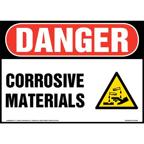 Danger: Corrosive Materials Sign with Icon - OSHA (013368)