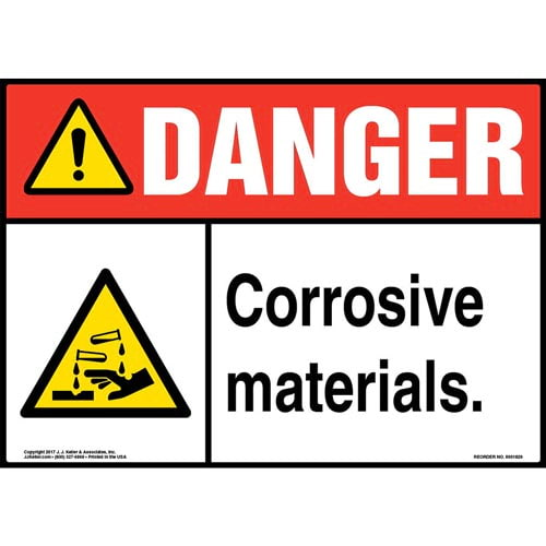 Danger: Corrosive Materials Sign with Icon - ANSI (013369)