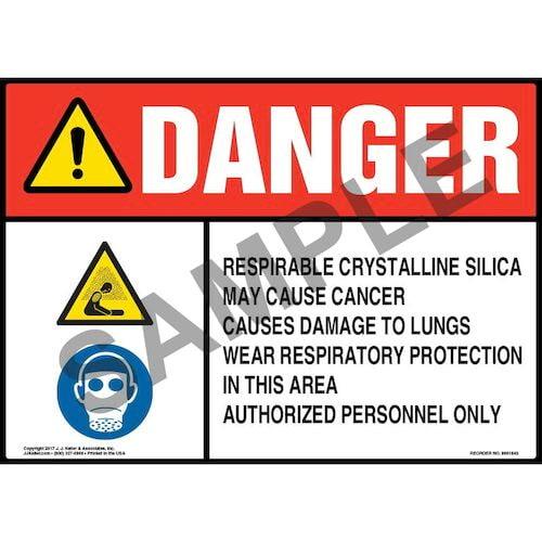 Danger: Respirable Crystalline Silica Sign - ANSI, Hazard & Facepiece Respirator Icons (013448)