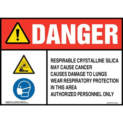 Danger: Respirable Crystalline Silica Sign - ANSI, Hazard & Respirator Icons (013449)