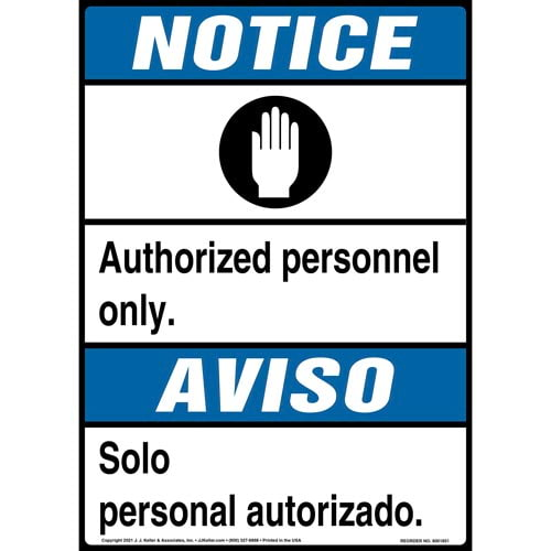 Notice: Authorized Personnel Only Bilingual Sign with Icon - ANSI (013541)